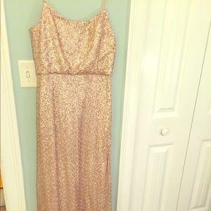 Amsale Gold sequin floor length dress